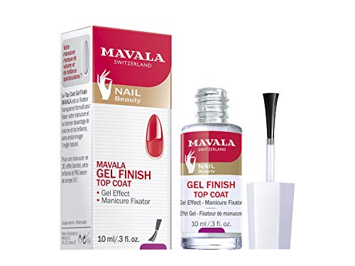 Mavala Gel Finish Top Coat Tratamiento de Manicura con Efecto Gel para las Uñas + Volumen + Suavidad + Brillo Extra, 10 ml