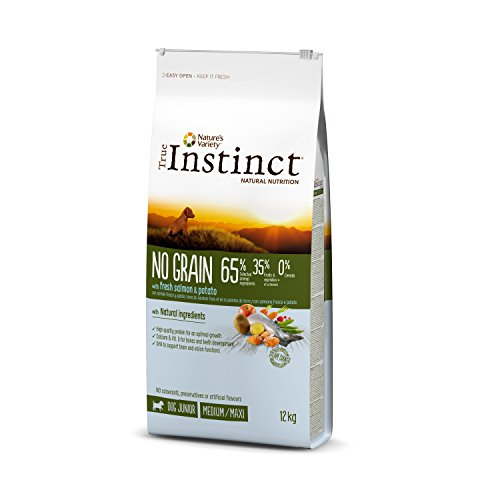 True Instinct No Grain - Nature's Variety - Pienso sin Cereales para Perro Junior Medium-Maxi con Salmón - 12kg
