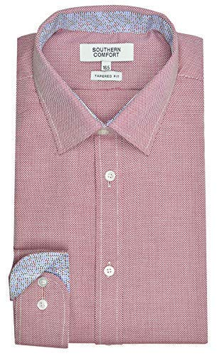 Southern Comfort Hombre Corte Tapered Oxford Weave Manga Larga de Algodón Camisas - Rojo, Cuello 18.5 (Chest 50 Inches)