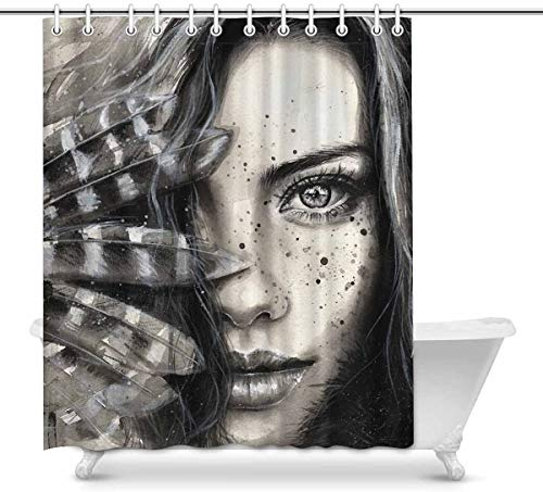 Cortina de baño Watercolor Fashion Girl Portrait with Feathers and Freckles Waterproof Shower Curtain Decor, Fabric Bathroom Set with Hooks, 60(Wide) x 72(Height) Inches