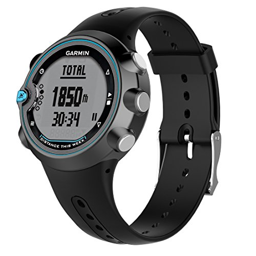 LOKEKE Correa de repuesto de silicona para reloj inteligente Garmin Swim Watch, color negro