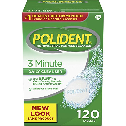 Polident 3 Minute Tablets limpiador de dentadura, 120 count