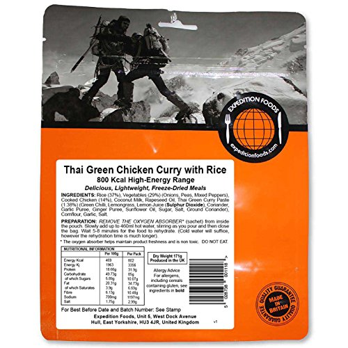 Expedition Foods Thai Green Chicken with Rice High Energy Serving Curry de Pollo Verde tailandés con arroz (800kcal) -Comida Seca congelada, Unisex Adulto, Naranja
