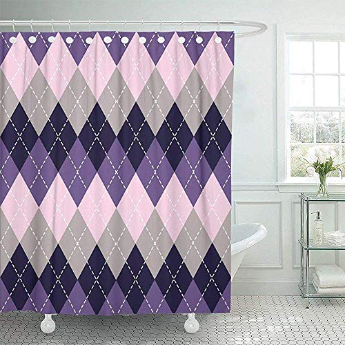 Cortinas de baño, Fabric Shower Curtain with Hooks Colorful Abstract Argyle Lavender and Grey Colors and Purple Bright eckered Classic Decorative Bathroom Treated to Resist Deterioration by Mildew