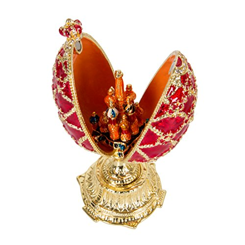 QIFU Hand Painted Enamelled Red Faberge Egg Style Decorative Hinged Jewellery Trinket Box Unique Gift For Home Decor