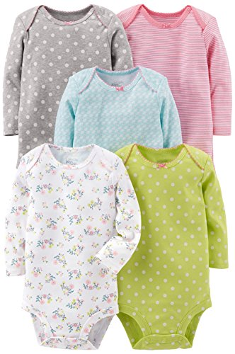 Simple Joys by Carter's Infant-and-Toddler-Bodysuits, Gray/Pink/Lime/Blue, 18 Meses