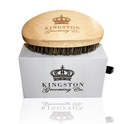 Kingston Grooming- Professional Quality, 100% Natural Wooden Dual Boar Hair Bristle Beard and Hair Brush for Men. Solid Beechwood and Engraved Contour Design with Travel Case. by Kingston