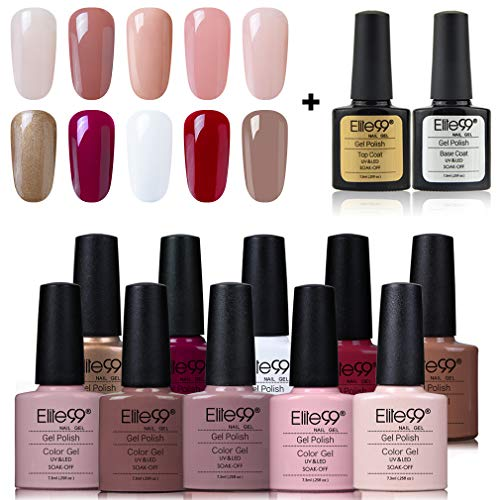 Elite99 Esmaltes Semipermanentes de Uñas en Gel UV LED, 10 Colores con Base y Top Coat Kit de Esmaltes de Uñas 001