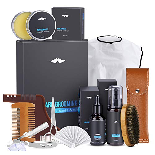 Kit Cuidado Barba, Magicfun 10 Kit Barba Cuidado Natural con Champu Barba Peine Barba Cepillo Barba Aceite Barba Balsamo Barba Barba Tijeras, Mejor Regalo Perfecto Originales para Hombre