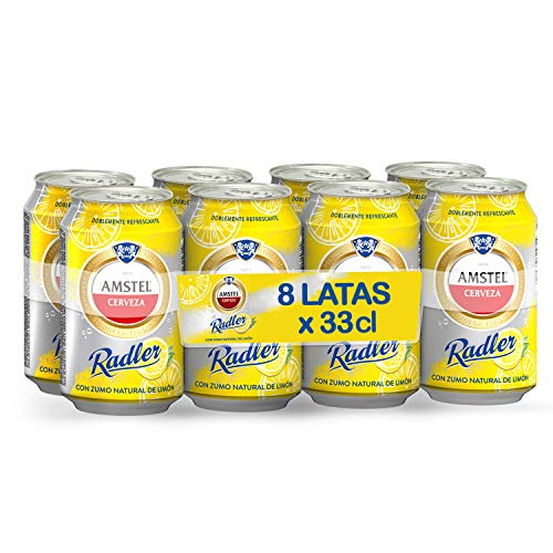 Amstel Radler Limon Cerveza - Pack de 8 x 330 ml -Total: 2.64 L