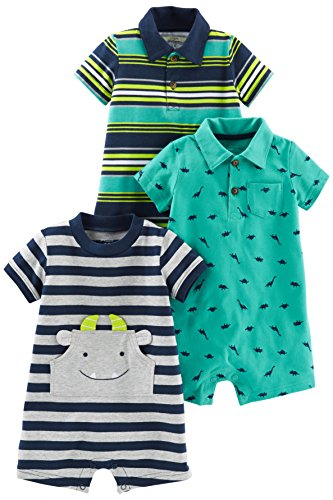 Simple Joys by Carter's Baby Boys paquete de 3 peleles. ,Blue Stripe/Turquoise Dino/Gray Navy ,3-6 Months