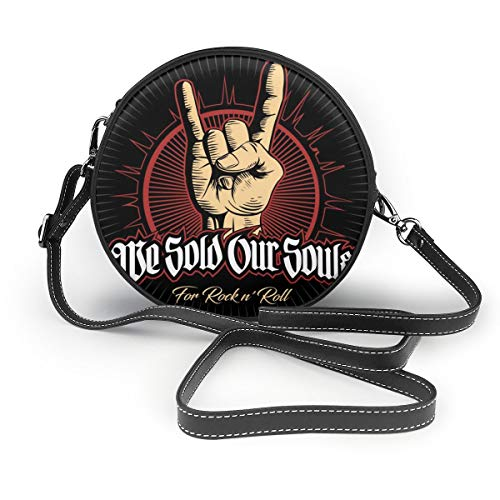 Bolsos de hombro Bolsos redondos para mujer Hard Rock, Heavy Metal, Sign Of The Horns, Rock Sign Hand, Rock Vector Logo. Bandolera Crossbody de Cuero