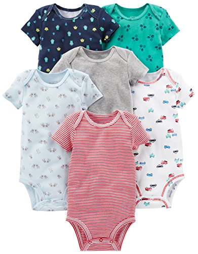 Simple Joys by Carter's Infant-and-Toddler-Bodysuits, White, Blue, Gray/Red, 3-6 Meses