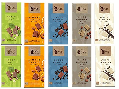 Ichoc Vegan Organic German Chocolate Bars Mixed Case Selection (Pack of 10)