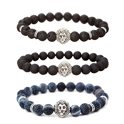 MIKINI Jewelry Lava Rock Matte Agate Natural Onyx Stone Mens Bracelets, Alloy Lion Head, (Silver Lion Head) by MIKINI