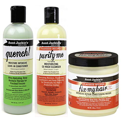 Aunt Jackies Curls & Coils Tri Bundle | Purify Me Co-Wash Cleanser 355m l Quench Moisture Intensive Leave In Conditioner 355 ml | Fix My Hair Intensive Repair Acondicionador Masque 426 g