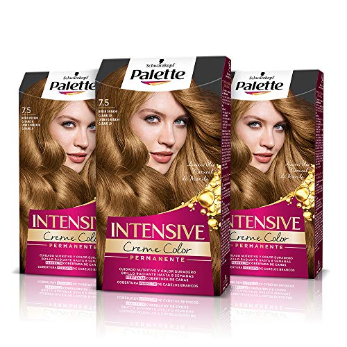 Palette Intense Cream Coloration Intensive Coloración del Cabello 7.5 Rubio Dorado Caramelo - Pack de 3