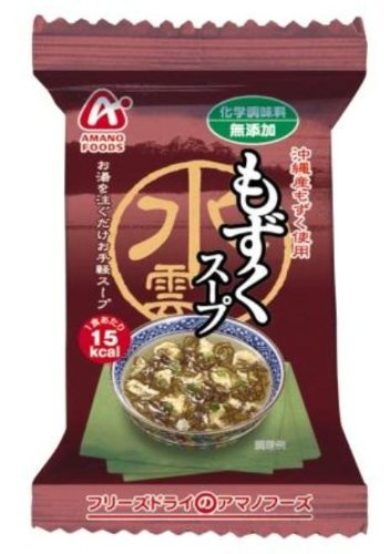 Amano Foods Freeze-dried Additive-free Mozuku Seaweed Soup 0.16oz X 10bags(for 10 Servings) [Japan Import]