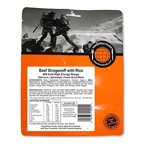 Expedition Foods Beef with Rice High Energy Serving Stroganoff de Carne con arroz (800kcal) -Comida Seca congelada, Unisex Adulto, Naranja