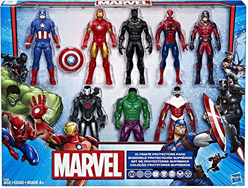 Hasbro Marvel Ultimate Protectors Action Figure 8-Pack - Pack De 8 Protectores Supremos - Hulk, Iron Man, Ant-Man, Black Panther, Capitán America, Spider-Man, Marvel'S War Machine, Marvel'S Falcon